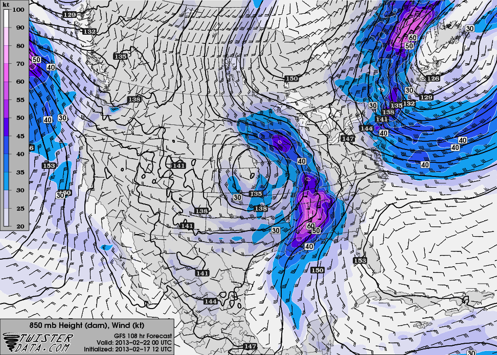 12z GFS hr 108 850mb winds