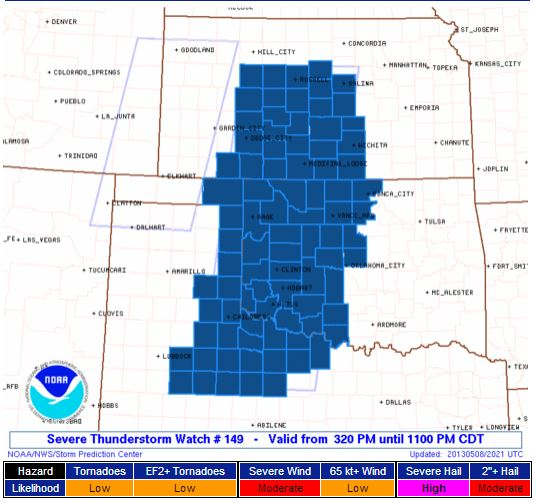 SVR T-Storm Watch KS OK TX
