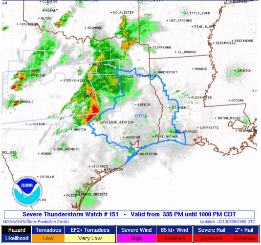 SVR T-storm Watch LA TX