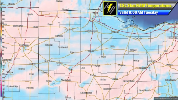18z 3km NAM 2m Temperatures Valid 8 AM Tuesday