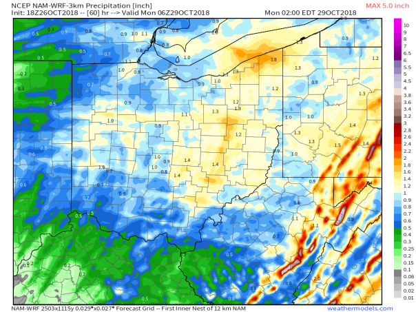 18z 3km NAM Total Precipitation Hour 60