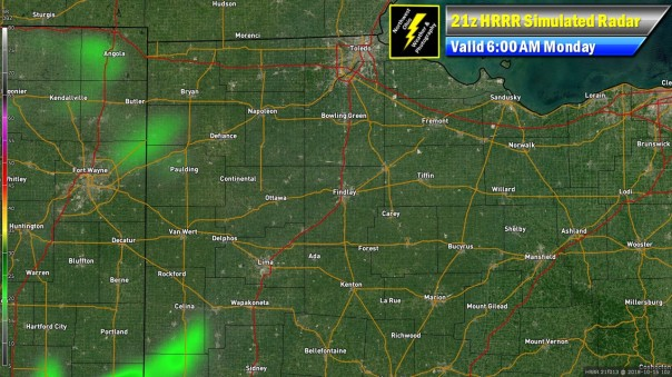 HRRR Simulated Radar Valid 6 AM Monday